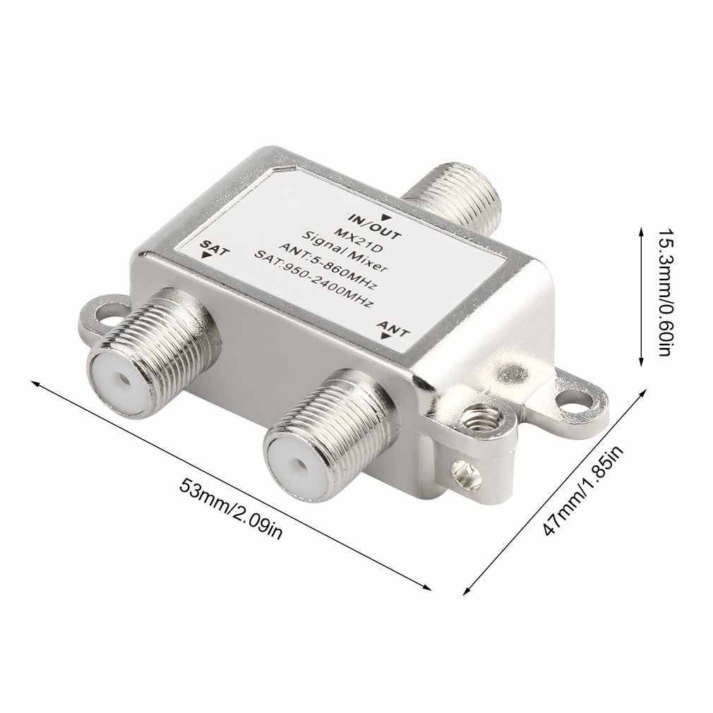 2 in 1 2 WAY Satellite Splitter ทีวีสัญญาณทีวีเครื่องผสมสัญญาณ SAT/ANT Diplexer น้ำหนักเบาและกะทัดรัด
