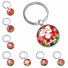 2019 Best Selling The Latest Cute Cartoon Santa Claus Pattern Series Glass Cabochon Keychain Fashion Jewelry Gift