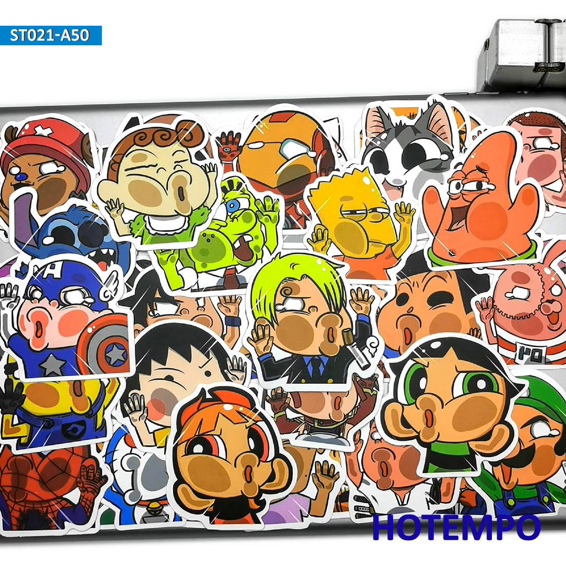 Lot 50 autocollants stickers thème DESSIN ANIME DROLE COOL JOUET