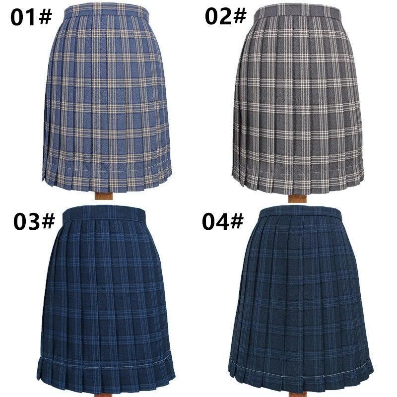 School Dresses Plaid Pleated Skirt Students Cosplay Anime Jk Uniform Sailor Suit Navy Blue Gray Royal Blue Short Skirt For Girls