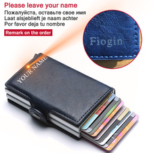 Men Wallet Blocking Rfid PU Leather Vintage 2020 Credit Card Holder Unisex Antitheft Security Aluminum Metal Purse