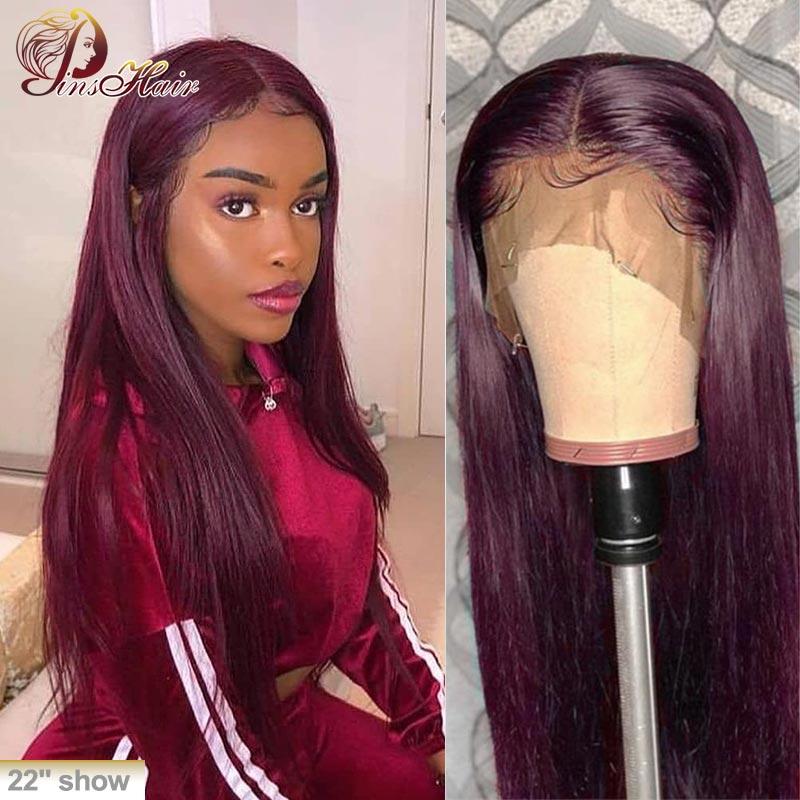 13*1 borgonha frente do laço peruca de cabelo humano 99j colorido parte do laço peruca cabelo reto 180 pinshair pré arrancado brasileiro remy peruca de cabelo