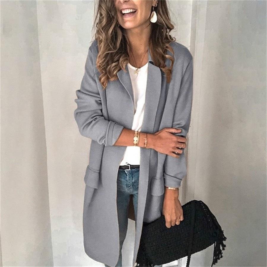 DeRuiLaDy 2019 Fall Winter Long Black Blazer Female Long Sleeve Fake Pocket Office Ladies Blazer Jacket Women Outerwear Coats