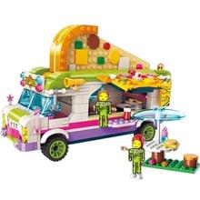ENLIGHTEN City Girls Princess Pizza Dining Car Bus Building Blocks Sets Bricks Model Kids Classic Compatible Friends цены онлайн