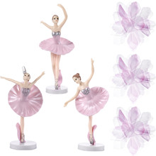 6Pcs Mooie Taart Decoraties Elegante Ballerina Versiering Set Plastic Dansen Meisje Ambachten Beeldjes