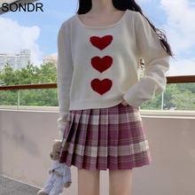 2020 autumn sweater women loose thin lazy cute sweet love pattern