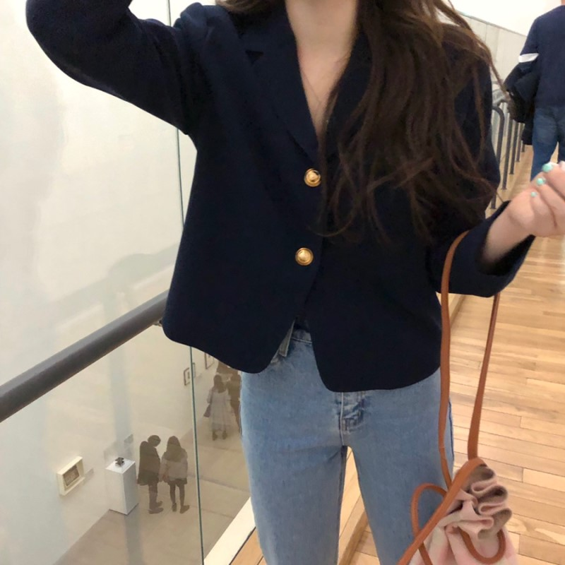2019 Korea Women Autumn Cotton Blazers Brief Jackets Coat Single Breasted Blazer Feminina Chaqueta Mujer Outer Wear Veste Femme 2