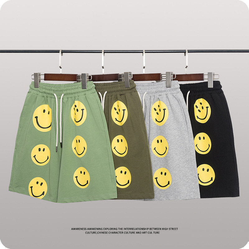 Boys Shorts 2021 New Children's Shorts Terry Cotton Sports Shorts for Teens Clothes Summer Smiley Kids Sweatpants 6 8 10 12 13 Y