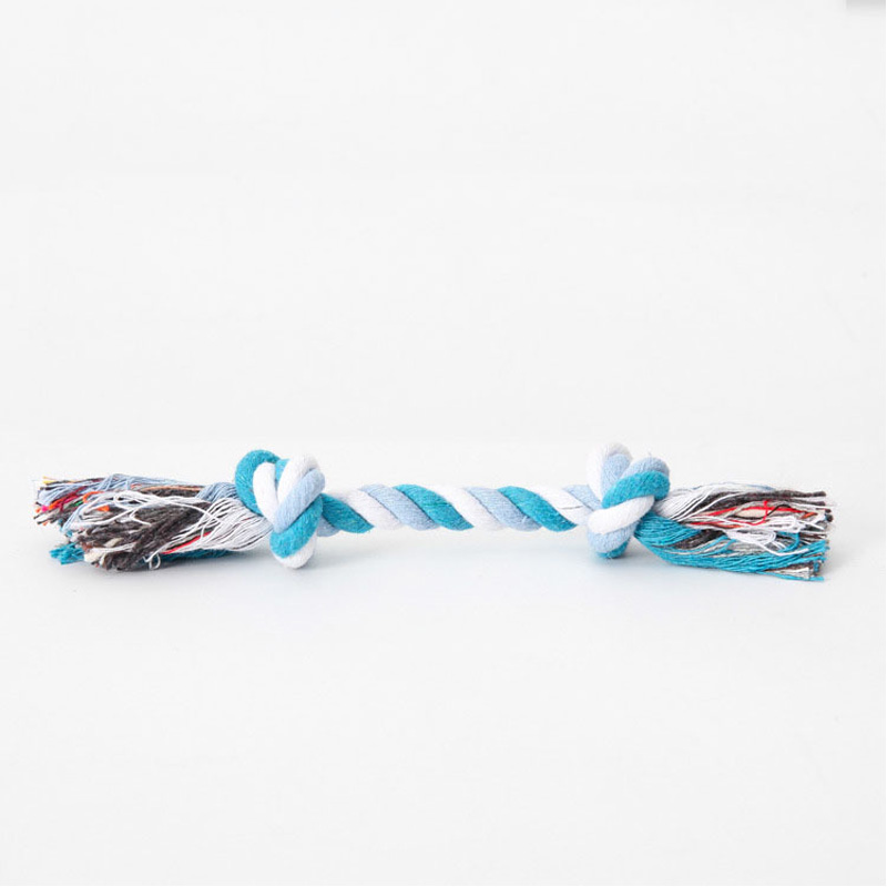Pet Dog Puppy Double knot Chew knot toys pet supplies Clean teeth Durable Braided Bone Rope Random Color Pet molar toy