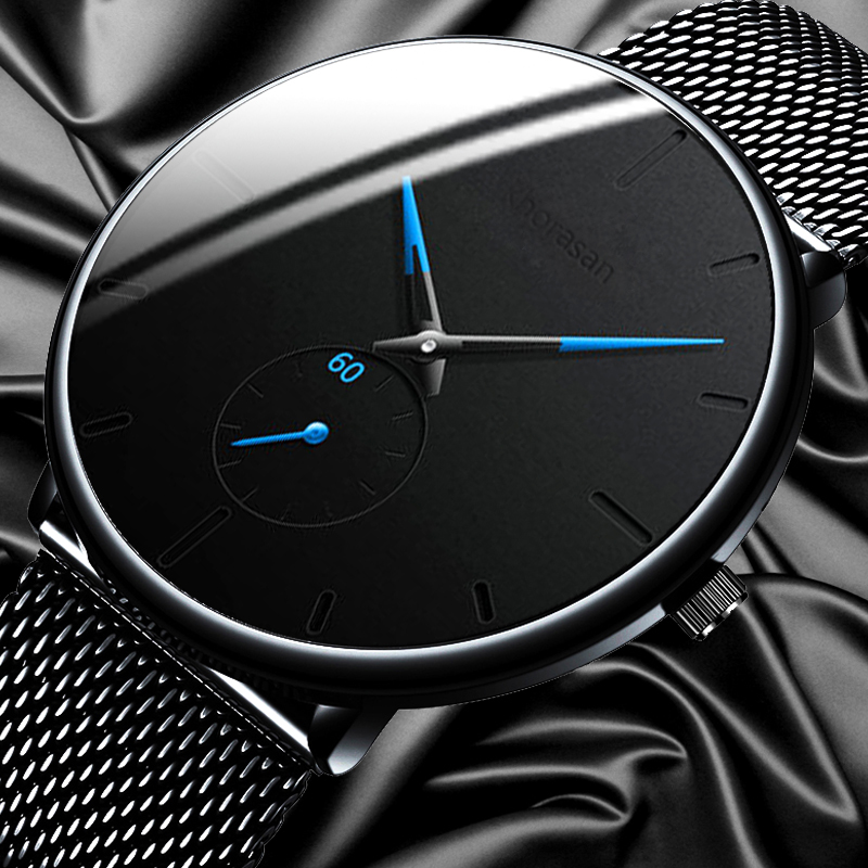 Relogio Masculino Men's Fashion Casual Watches Minimalist Men Business Clock Male Stainless Steel Mesh Belt Simple Quartz Watch