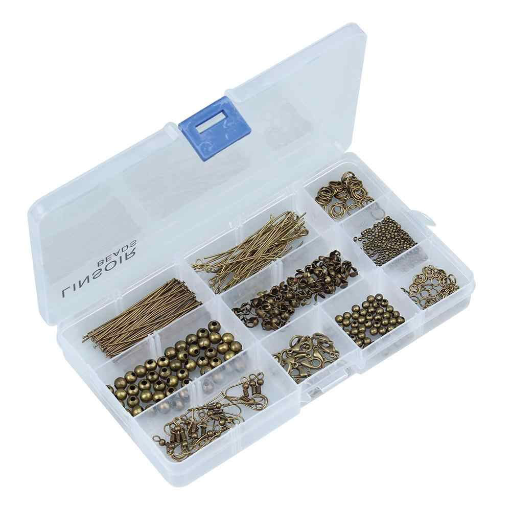Diy jóias achados kit caixa conjunto gancho da orelha crimp fim tampa salto anéis lagosta fecho pinos ferramentas para fazer jóias