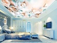 Romantic Rose Flower Butterfly 3D Ceiling Mural 3d ceiling murals wallpaper