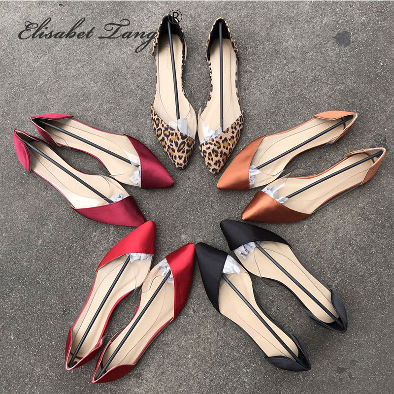 ElisabetTang Summer Women Flat Shoes Modern Transparent Metallic Shoes Fashion Slip On Pointed Toe Ballerina Shallow Mouth Shoes