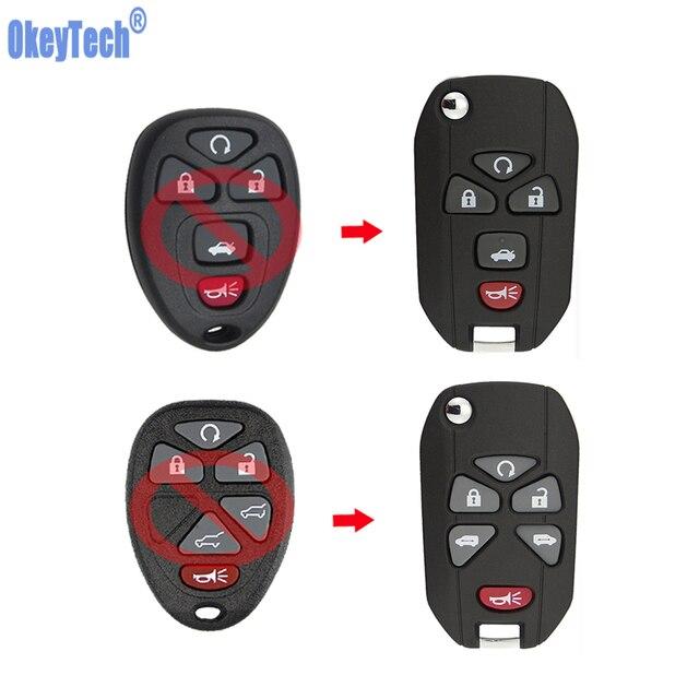 OkeyTech-clé de voiture pour Buick Chevrolet Cadillac Pontiac Saturn   Clé de voiture 5 6 boutons à rabat, coque de clé à distance, étui lame vierge non coupée