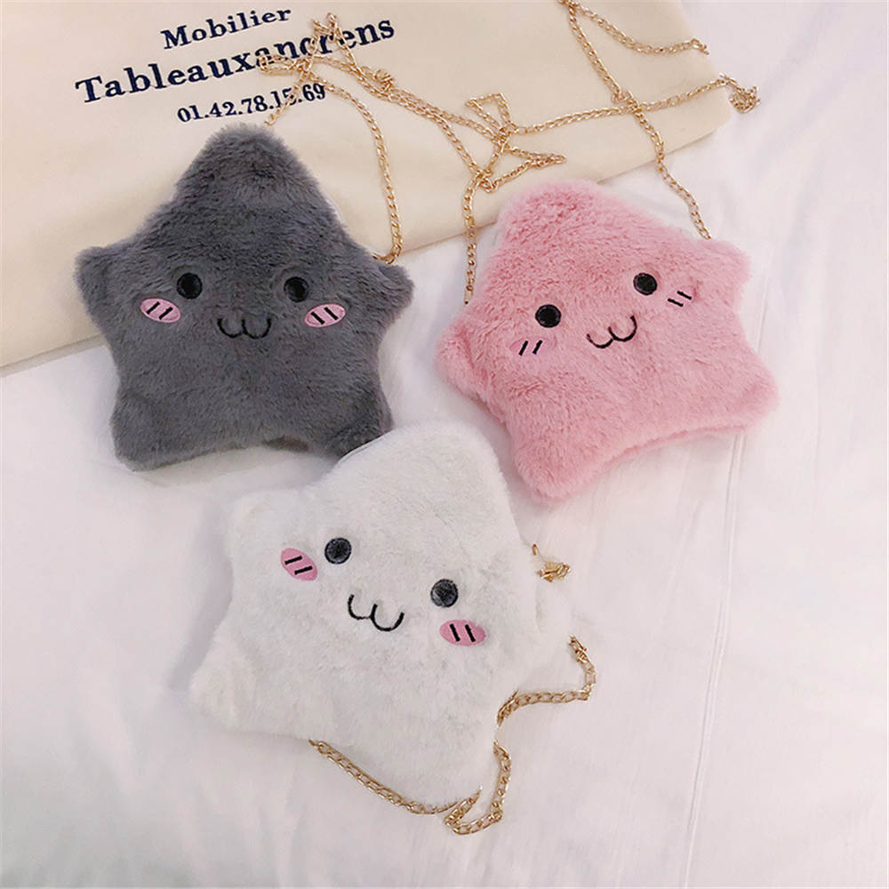 Cute Children Kids Girls Mini Star Crossbody Bags Soft Fur Handbags Bag Gift Purse Crossbody Bag Plush Backpacks Coin Purse