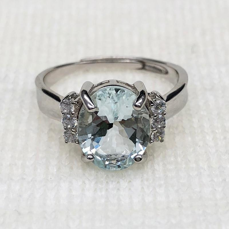 100% naturel brésil aigue-marine ovale 9*11mm couleur claire anneau de pierres précieuses 925 en argent sterling pierre précieuse bijoux avec boîte-cadeau - 2