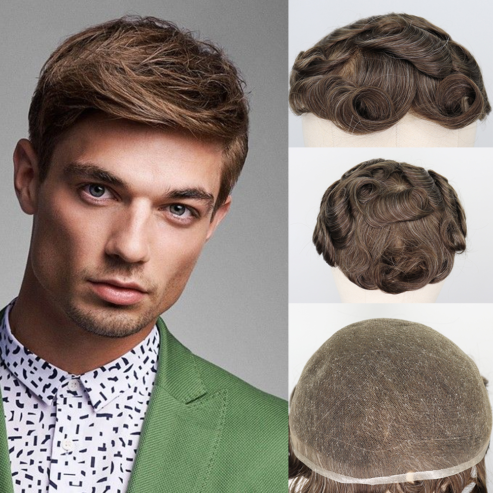 YY Wigs Brown Mixed Grey Human Hair Men Toupee Brazilian Remy Hair Replacement System Wigs For Man #720 Culry Swiss Lace Toupee