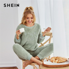 Pajama-Set Loungewear-Sets SHEIN Long-Sleeve Flannel Winter Women Casual Warm Mint-Green