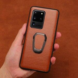 Настоящее масло воск кожаное кольцо Магнитный чехол для телефона для samsung Galaxy S20 Plus S20 Ultra Note 10 S8 S9 S10 Plus A50 A51 A71 A70 A8 S10 Lite S10E S8 Plus S9 Plus A30S A20 A40 A30 A80 A7 A8 2018