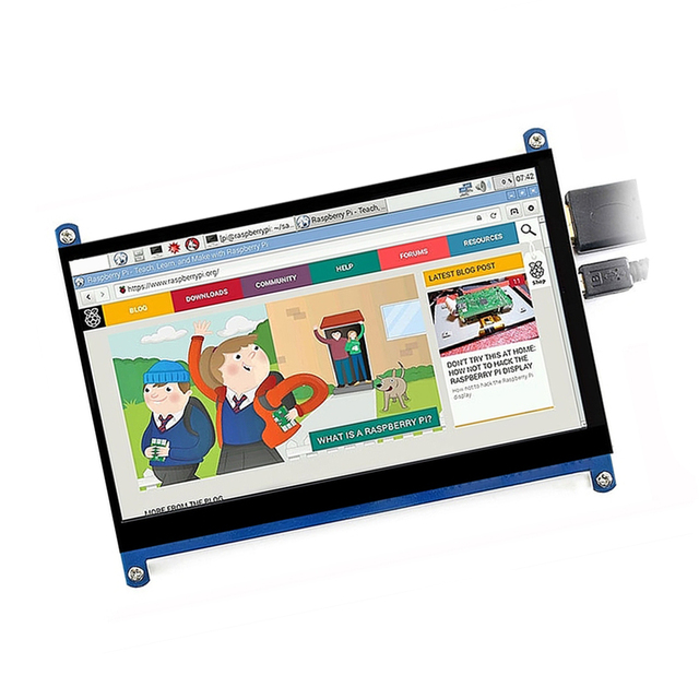 """7"""" HDMI USB LCD Display Monitor 1024*600 HD Capacitive Touch Screen portable monitor Accessory For Raspberry Pi drive-free 1"""