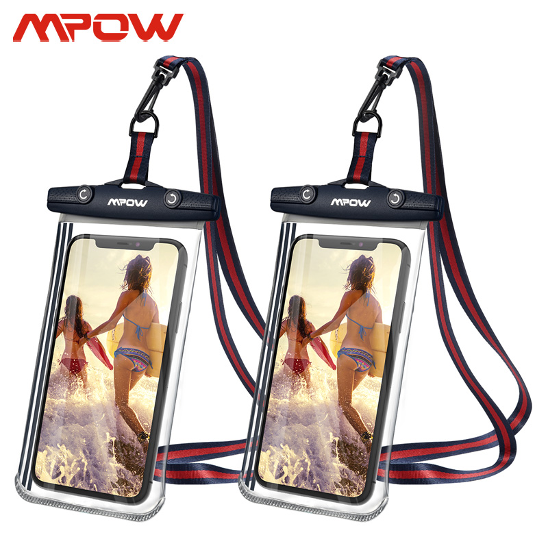 Mpow 2pcs PA196 IPX8 Waterproof Phone Case Universal 6.8 Inch With Card Key Pocket Transparent Bag For IPhone 11 Xiaomi Samsung