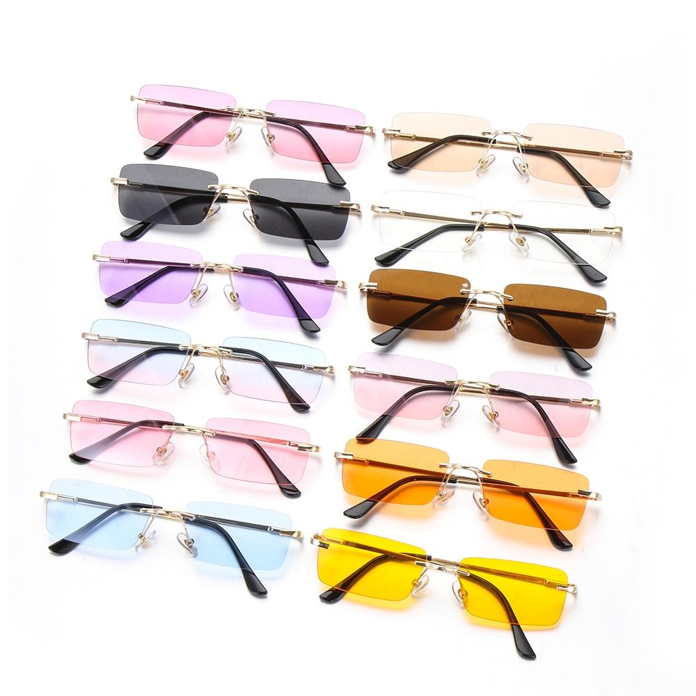 Mode Rechteck Randlose Sonnenbrille Luxus Design Frauen Unisex Retro Gradienten Gläser Brillen UV400 Streetwear Zubehör