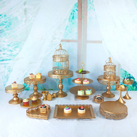 Tobs gold metal cake stand set for cup cake holder decorating wedding