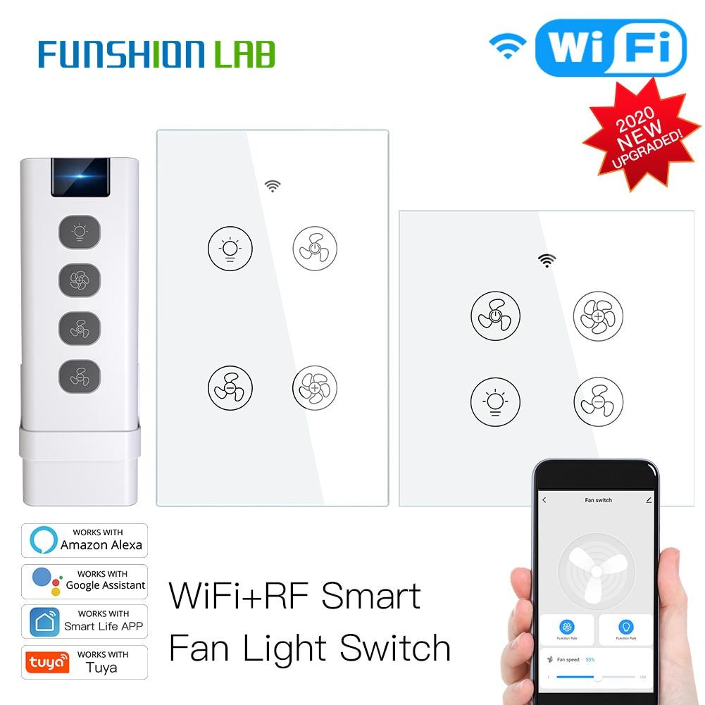 New WiFi RF Smart Ceiling Fan Light 2/3 Way Control Smart Life/Tuya APP RF Remote Speed Control Alexa Google Home Compatible