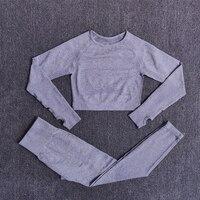 ShirtsPantsGray - Women Seamless Yoga Set Fitness Sports Suits