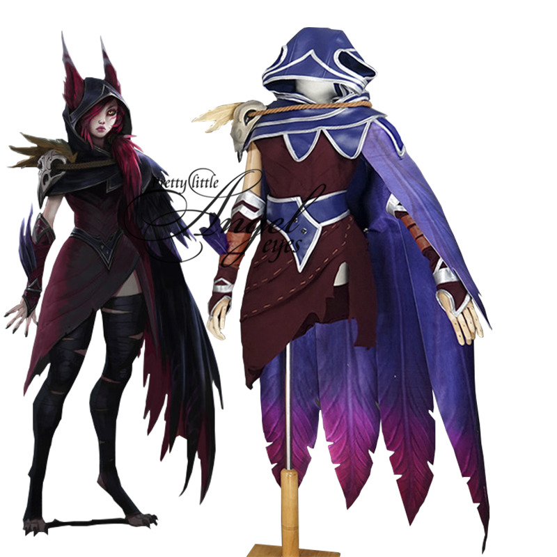 Hot Game LOL The Rebel Xayah Costume Cosplay Halloween Party Full Set Suit