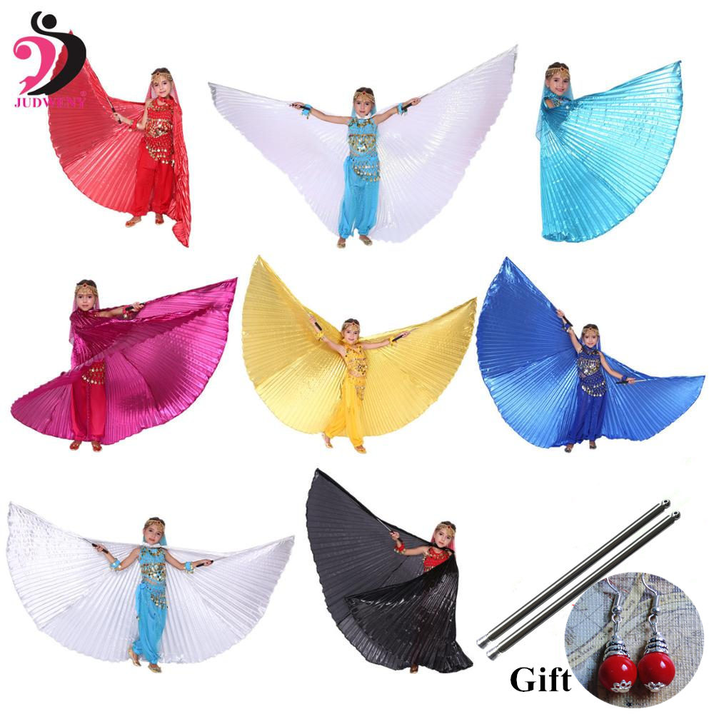 Kids Belly Dance Costume Belly Dance Wings Bollywood Costumes Girls Gypsy Belly Dancing Gold for Girls Children 10 Colors Sticks