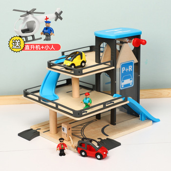 Simulation lift parking lot toys compatible with wooden magnetic scene track mini train