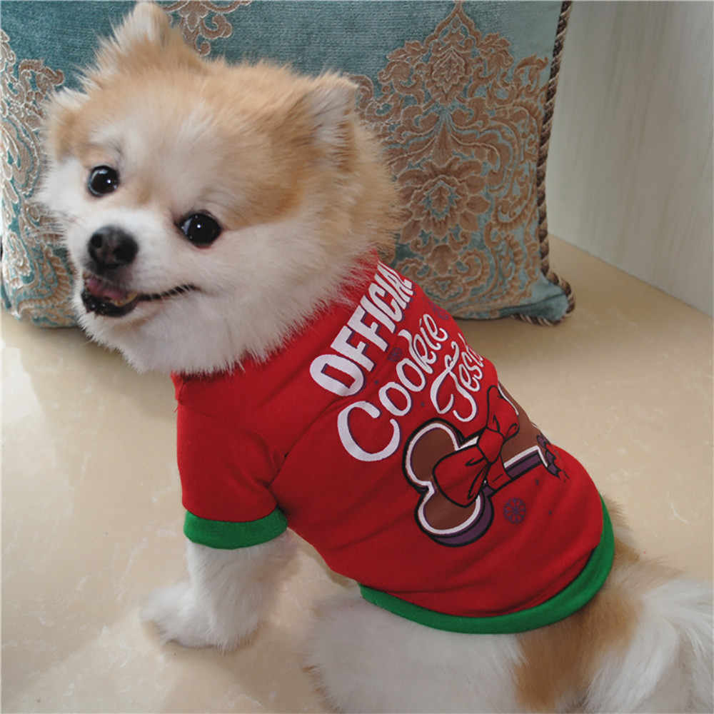 Kerst Hond Kleding Polyester t-shirt Puppy Kostuum Kerst Pet Kerstman Kleding Puppy Hond Trui Casual Gilet per cani * 5