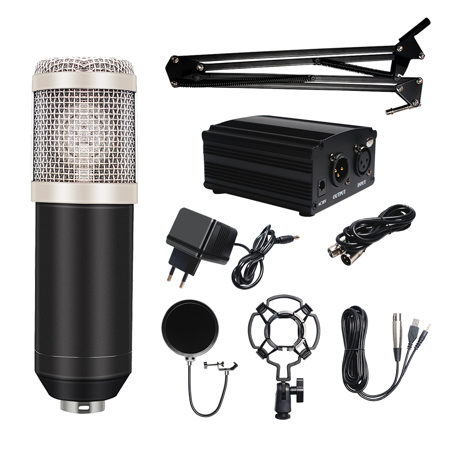 Bm800 Studio Microphone Condenser Microphone with Pop Filter amp Phantom Power Vocal Record KTV Karaoke BM 800 Microfono Youtuber