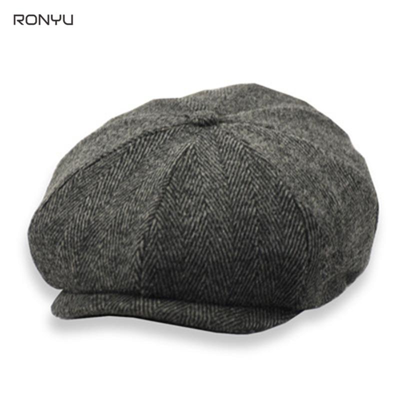 2021 New Men's Newsboy Hats Vintage Herringbone Octagon Cap Women Berets Gatsby Flat Hat Men's Brand Caps BJM26