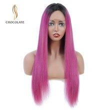 Парики из человеческих волос с эффектом омбре розового цвета 13*4 Remy, Длинные бразильские прямые парики из натуральных волос на кружеве для черных женщин, три цвета