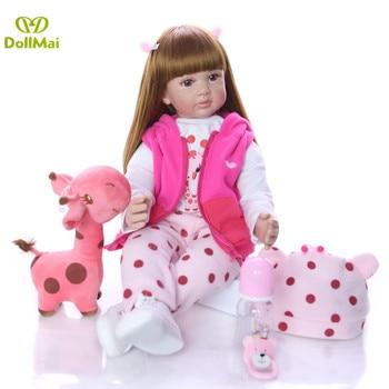 "Big size Reborn Girl toddler baby silicone dolls 24""60cm soft body newborn babies alive doll for child bebe gift reborn boneca"