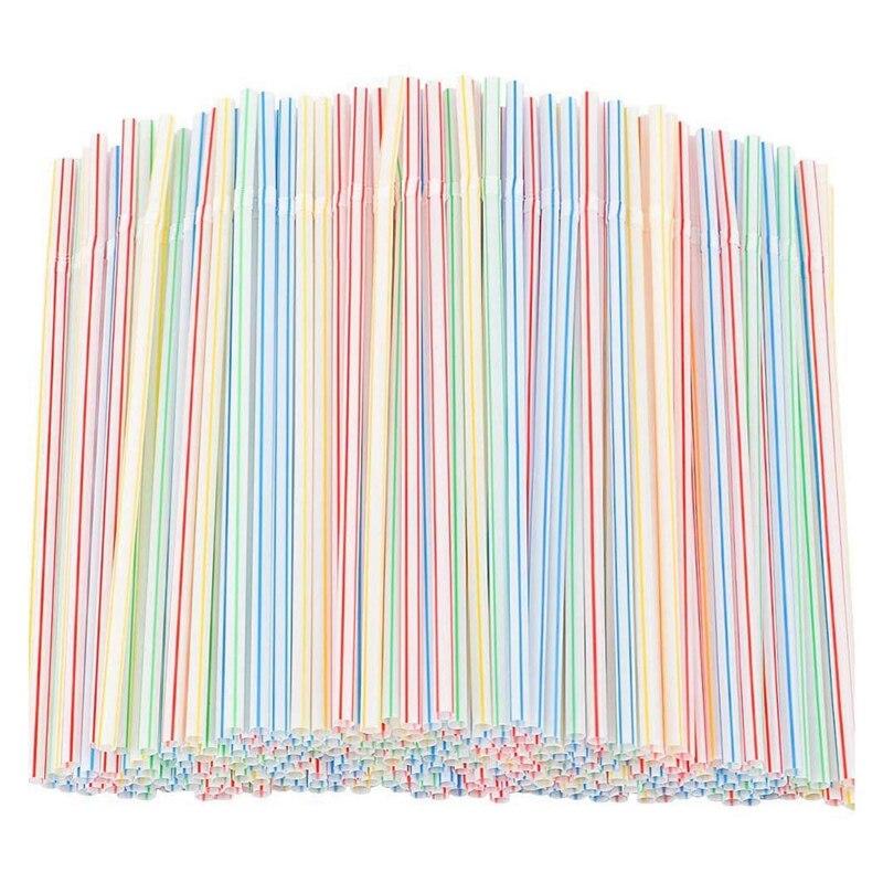 1500 шт Гибкая пластиковая соломка полосатая разноцветная одноразовая соломка длиной 8 дюймов