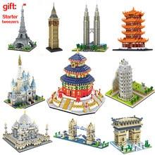 Compatível do mundo famosa arquitetura urbana street view louvre pirâmide grande ben de londres blocos de construção tijolos crianças brinquedo presente