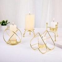 Retro Leuchter Drei-legged Geometrische Leuchter Metall Schmiedeeisen Kerzenhalter