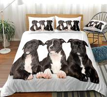 3D Dogs Duvet Cover Set Black Dogs Bedding Kids Pet Quilt Cover 3pcs Animal Home Textiles White Bed Set King Dropship(China)