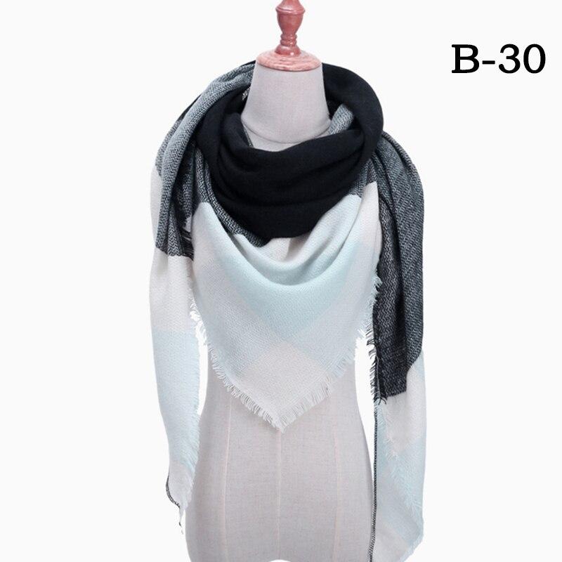 Женский зимний шарф в ретро стиле, кашемировые вязаные пашмины шали, женские мягкие треугольные шарфы, бандана, теплое одеяло, новинка - Цвет: bb30
