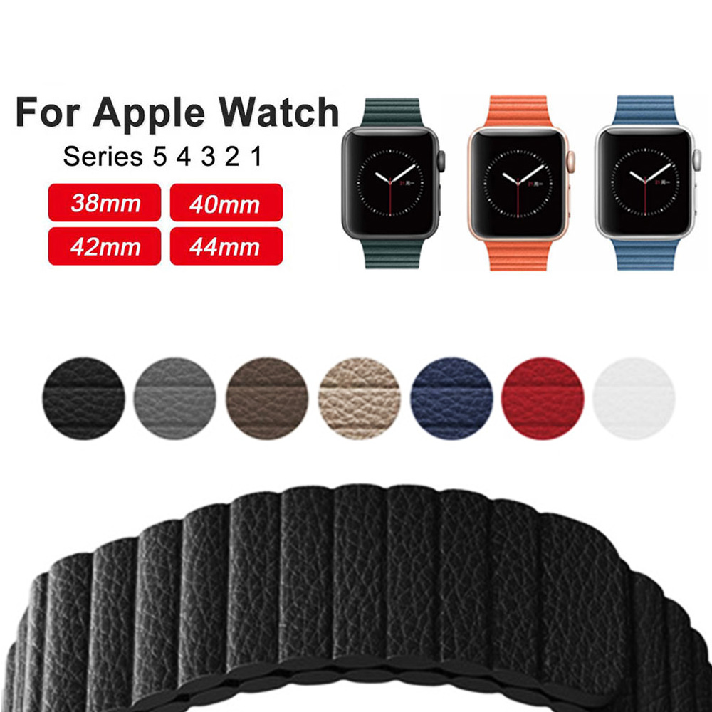 Replacement Genuine Leather Magnetic Closure Loop Watch Band Wristband Strap For Apple Watch 40mm/44mm/38/42MM Series 5/4/3/2/1