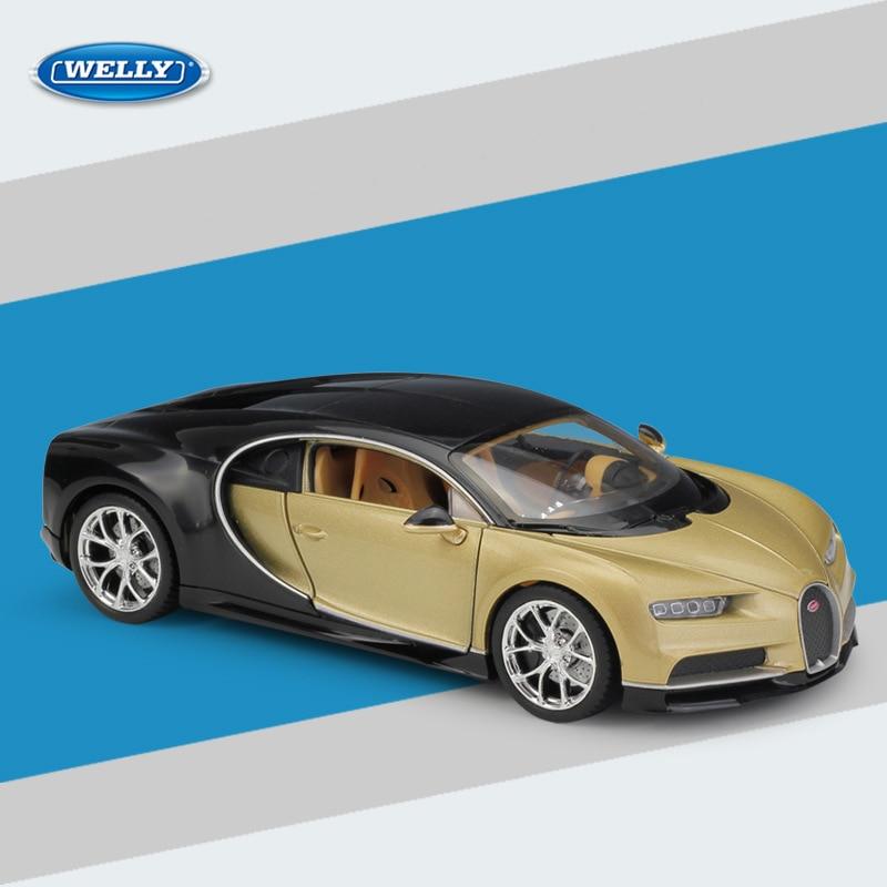 Welly auto modelo 1:36 Bugatti chiron azul