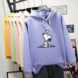 Autumn Winter Sweatshirt Woman 2019 Long Sleeve Creative Cartoon Dog Pattern Print Hoodie Harajuku Oversized Women Hoodies Tops