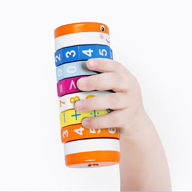 Kids Digital Arithmetic and Alphabetic Cylindrical Cubes Math Toys for Children Baby Montessori Wooden Educational Learning Toy