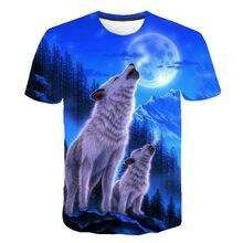 Camiseta con estampado 3D de lobo Animal para hombre de camiseta Popular con la parte de arriba de color azul con estampado 3D... camis