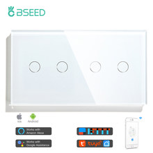 BSEED WIFI Touch Switches Double 2Gang 1/2/3Way Wall Tuya Switches Wireless Control Smart Light Switch Google Alexa Smart Life