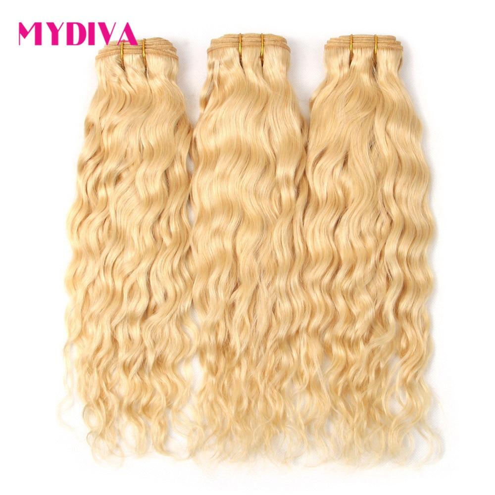 Brasilianische Haarwebart Bundles Wasser Welle Menschliches Haar Extensions 613 Bundles 30 Inch Honig Blonde Bundles Remy Haar Mydiva