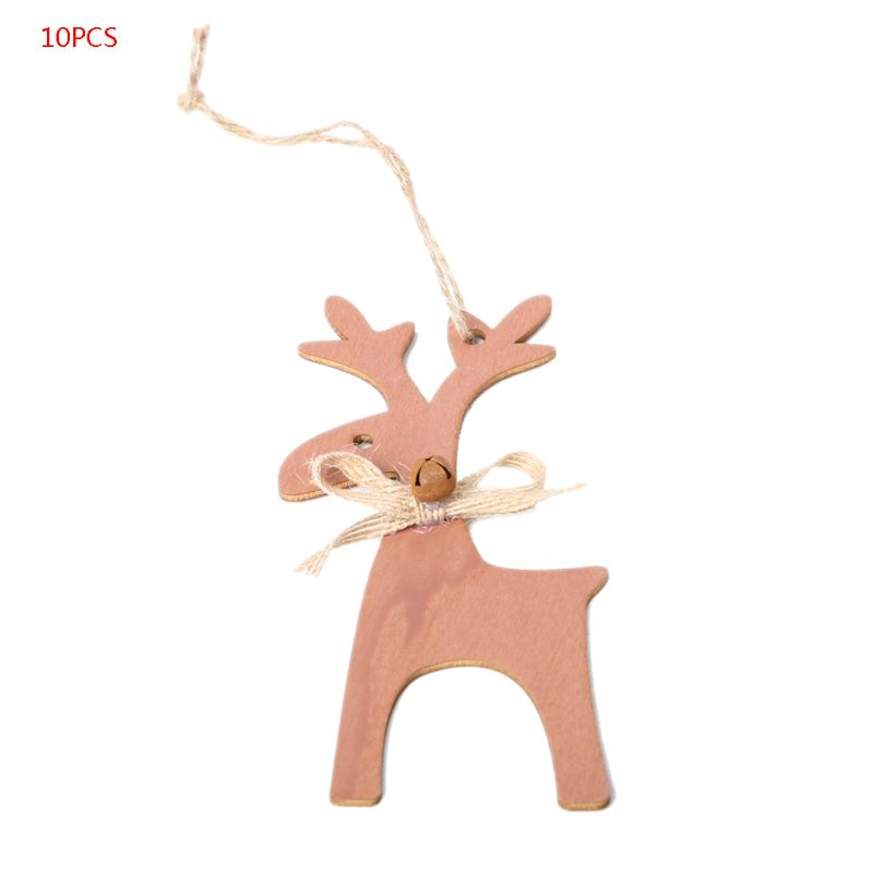 10pcs Wooden Elk Deer Bow Pendant Christmas Tree Hanging Ornament Home Holiday Party Decoration DIY Crafts in Pendant Drop Ornaments from Home Garden